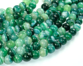 Banded Agate Beads, Green, 10mm(10.5mm) Round Beads, 15.5 Inch, Full strand, Approx 38 beads, Hole 1mm (132054058)