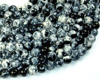 Rain Flower Stone Beads, Black, White, 8mm (8.6mm) Round Beads, 15.5 Inch, Full strand, Approx 48 beads, Hole 1mm, A quality (377054023)