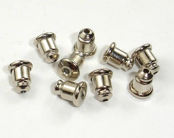 Earring Nuts, Bullet Stoppers, White Gold Tone , 5x6mm, 20pcs(10pairs), Hole 1mm (006856006)