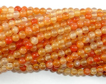 Carnelian Beads, Orange, 4mm (4.4mm) Round Beads, 15 Inch, Full strand, Approx 92 beads, Hole 0.8mm (182054016)