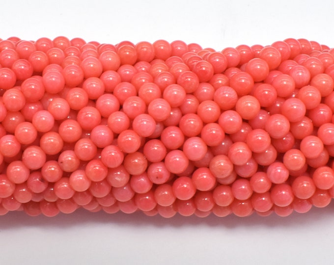 Salmon Pink Coral, Angel Skin Coral, 4mm (4.3mm) Round Beads, 15.5 Inch, Full strand, Approx 100beads, Hole 0.5mm, A quality (118054002)
