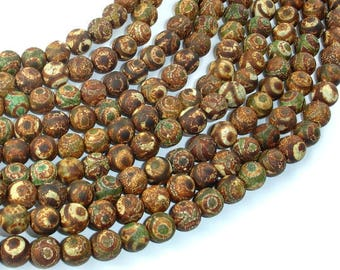 Matte Tibetan Agate, Crackle Agate, 8mm Round Beads, 15 Inch, Full strand, Approx 48 beads, Hole 1.2mm (122054217)