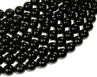 Jet Gemstone, 10mm Round Beads, 16 Inch, Full strand, Approx 41 beads, Hole 1 mm (289054003)