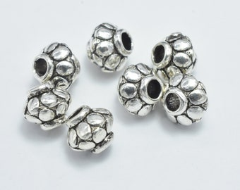 61564-2104 10 Solid Silver Rondelle Spacer Beads 925 Sterling Silver 6mm