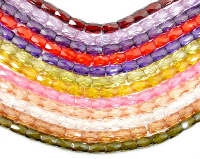 Cubic Zirconia Beads, CZ , 6 x 9 mm Faceted Tube Beads, 6 Inch, 1 strand, 17 beads, Hole 0.8 mm, A quality (TU0609)