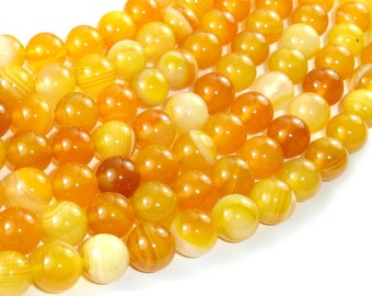 Banded Agate Beads, Yellow, 10mm(10.5mm) Round Beads, 15.5 Inch, Full strand, Approx 38 beads, Hole 1mm (132054046)