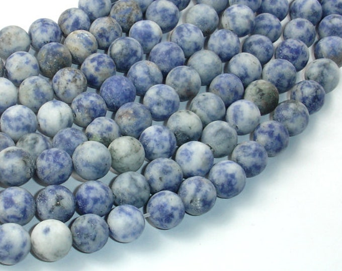 Matte Blue Spot Jasper Beads, 10mm (10.5mm) Round Beads, 15.5 Inch, Full strand, Approx 38 beads, Hole 1 mm (153054006)