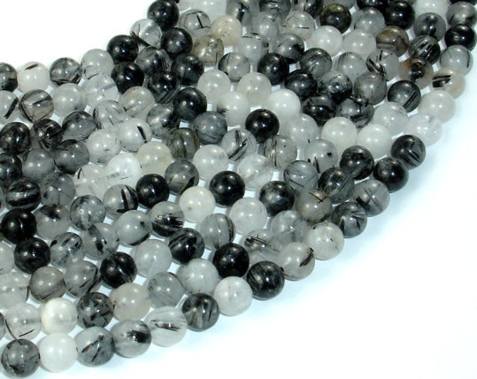 Black Rutilated Quartz Beads, 6mm Round Beads, 15.5 Inch, Full strand, Approx 64 beads, Hole 1mm (143054003)