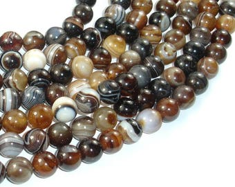 Banded Agate Beads, Brown, 10mm(10.5mm) Round Beads, 15 Inch, Full strand, Approx 38 beads, Hole 1mm (132054056)