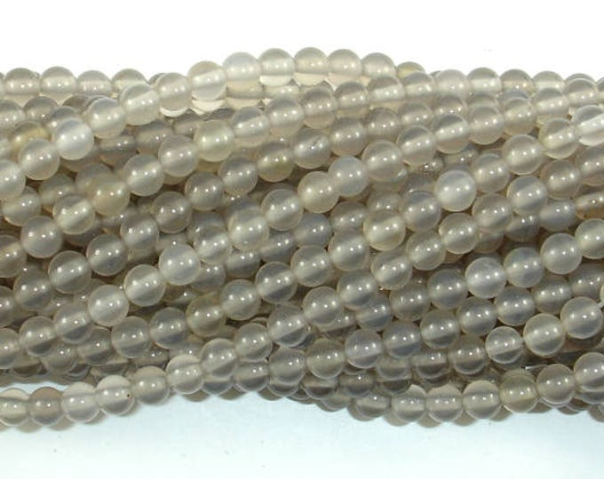 Gray Agate Beads, 4mm(4.3mm) Round Beads, 15 Inch, Full strand, Approx 93 beads, Hole 0.8mm (241054008)