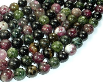 Tourmaline Beads, 10mm(9.5mm) Round Beads, 15.5 Inch, Full strand, Approx 42 beads, Hole 1 mm, AB+ quality (427054006)