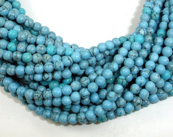 Turquoise Howlite Beads, 4mm Round Beads, 15.5 Inch, Full strand, Approx 100 beads, Hole 0.8mm (213054011)