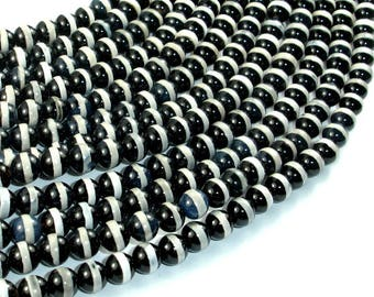 Black Onyx Beads, with White Line, 6mm Round Beads, 15 Inch, Full strand, Approx 65 beads, Hole 1mm (140054028)