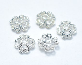 15pcs 6mm 925 Sterling Silver Bead Caps, 6x2.2mm Flower Bead Caps, Jewelry Findings, Hole 1mm (007902001)