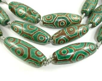 Tibetan Agate Beads, Tibetan Dzi Agate Beads, Approx 15x40mm Rice Beads, 15 Inch, Full strand, 8 beads, A quality (122052022)