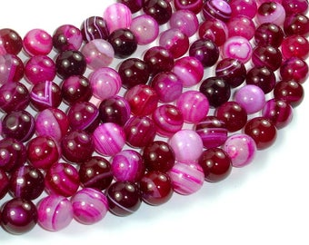 Banded Agate Beads, Striped Agate, Fuchsia, 10mm Round Beads, 15 Inch, Full strand, Approx 38 beads, Hole 1mm, A quality (132054033)