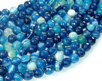 Banded Agate Beads, Striped Agate, Blue, 8mm Faceted Round Beads, 15 Inch, Full strand, Approx 48 beads, Hole 1mm, A quality (132025001)