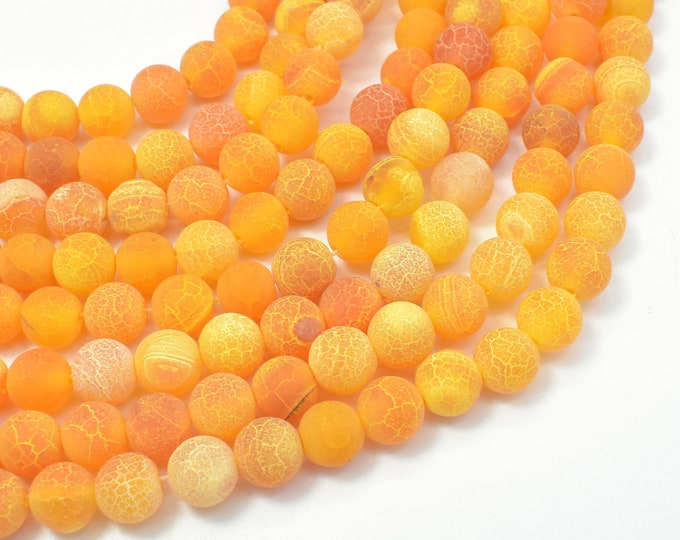 Matte Agate- Orange, 8mm (7.8mm) Round Beads, 14.5 Inch, Full strand, Approx 48 beads, Hole 1mm (122054291)