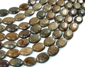 Bronzite Beads, 12x16mm Oval Beads, 15 Inch, Full strand, Approx 23 beads, Hole  1mm (174030007)