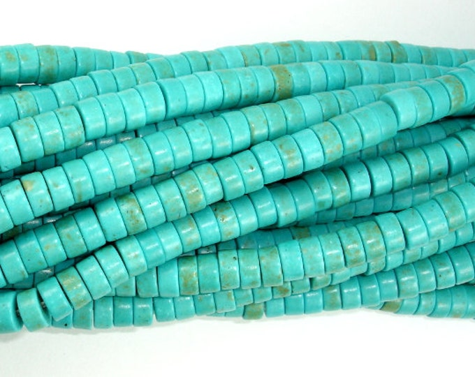 Turquoise Howlite Beads, 3mm x 6mm Heishi Beads, 15.5 Inch, Full strand, Approx 128 beads, Hole 1.2 mm (213041002)