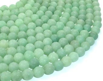 Matte Green Aventurine Beads, Round, 8mm (8.5mm), 15.5 Inch, Full strand, Approx 47 beads, Hole 1 mm, A quality (249054010)
