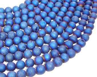 Druzy Agate Beads, Blue Geode Beads, Approx 8 mm(8.5 mm) Round Beads, 15 Inch, Full strand, Approx 47 beads, Hole 1 mm (122054096)