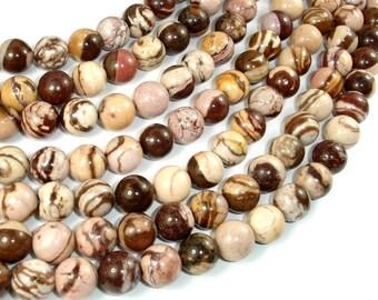 Brown Zebra Jasper, 10mm (10.6 mm) Round Beads, 15.5 Inch, Full strand, Approx 37 beads, Hole 1 mm (173054006)