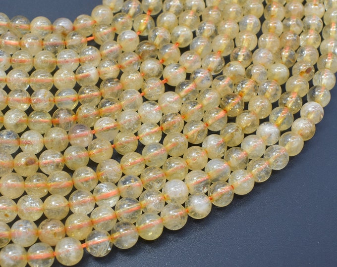 Citrine Beads, 6mm(6.2mm) Round Beads, 15.5 Inch, Full strand, Approx 66 beads, Hole 1mm (197054012)