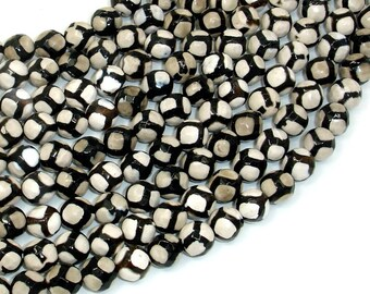 Tibetan Agate Beads-Black, White, 8mm Faceted Round Beads, 14.5 Inch, Full strand, Approx 47 beads, Hole 1mm (122025320)