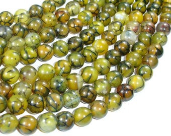 Dragon Vein Agate Beads, 10mm(10.5mm) Round Beads, 15.5 Inch, Full strand, Approx 38 beads, Hole 1mm (122054153)