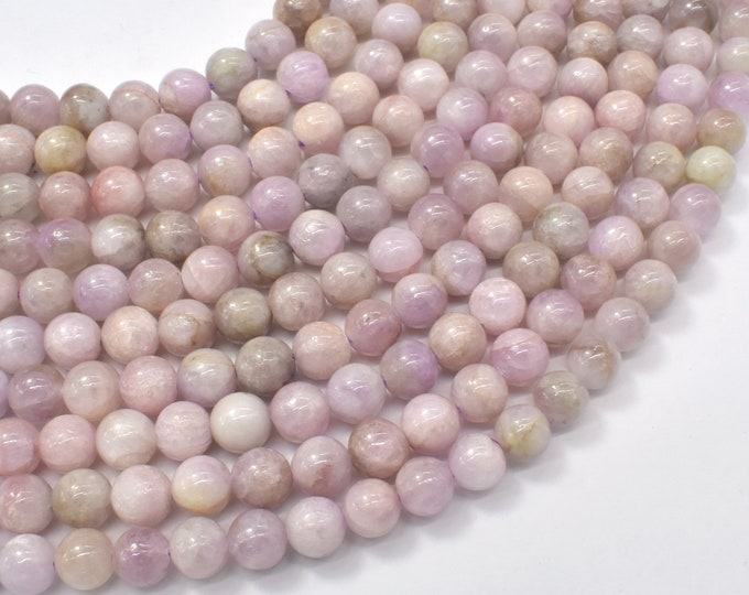 Kunzite Beads, 6mm (6.3mm) Round Beads, 15.5 Inch, Full strand, Approx 60-64 beads, Hole 0.8mm (293054004)