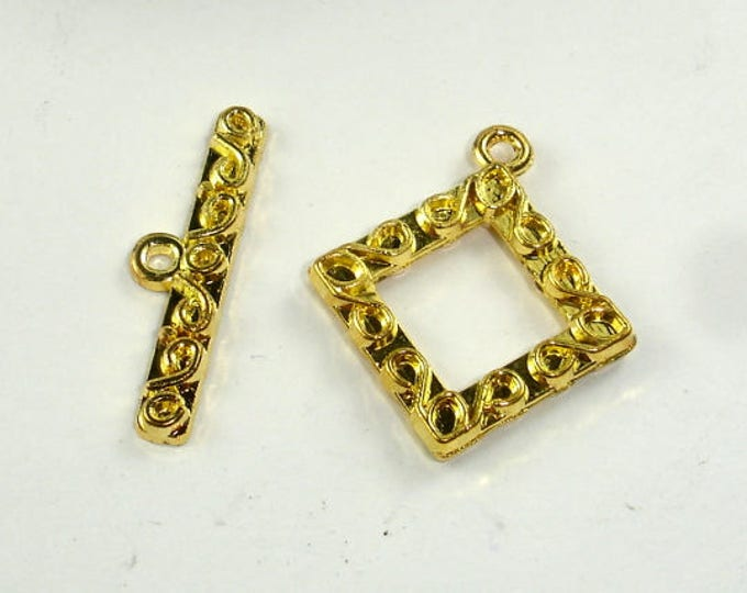Square Toggle Clasps , Gold Tone,  15x15x2.6mm, 4 sets, Hole 1.5mm (006871007)
