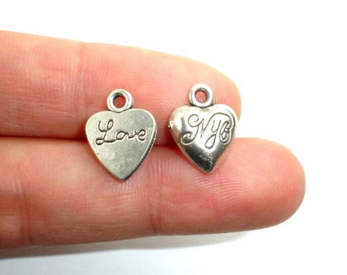 Heart Charms-Love, Zinc Alloy, Antique Silver Tone, 11x14 mm, 20 pcs, Hole 1.8 mm (006873050)