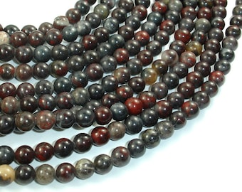 Brecciated Jasper Beads, Round, 6mm (6.3mm), 15.5 Inch, Full strand, Approx 64 beads, Hole 1 mm (334054002)