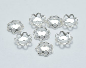 10pcs 8mm 925 antiqued Sterling silver,Oxidized Sterling Silver Jewelry Findings Bead cap 2.5mm Height filigree cap FDSSC0237