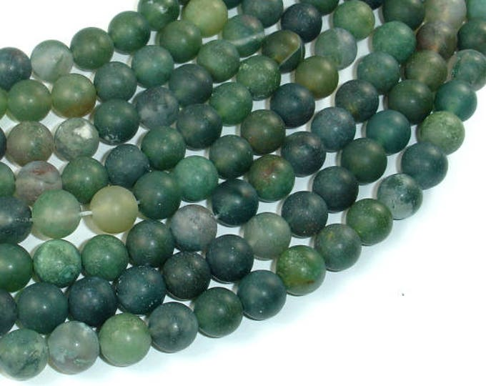 Matte Moss Agate Beads, 8mm(8.5mm) Round Beads , 15.5 Inch, Full strand, Approx 48 beads, Hole 1mm (323054012)