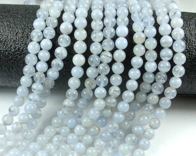 Blue Chalcedony Beads, Blue Lace Agate Beads, Round, 6mm, 15.5 Inch, Full strand, Approx 66 beads, Hole 0.8mm, AB quality (152054005)
