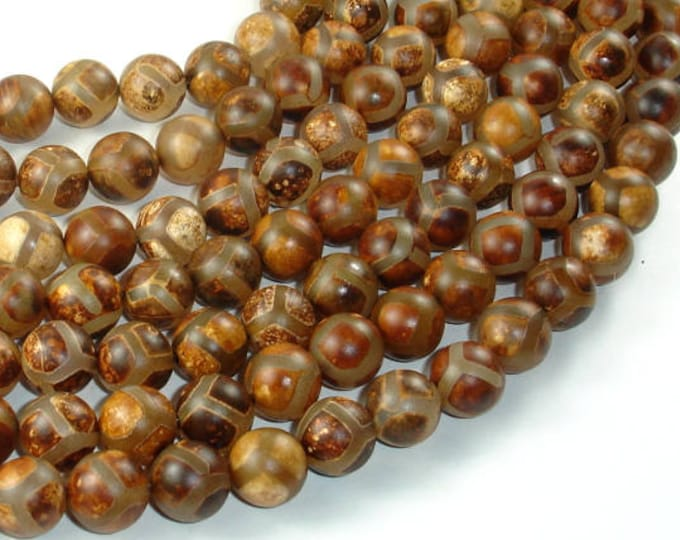 Tibetan Agate, 10mm(10.5mm) Round Beads, 15.5 Inch, Full strand, Approx 38 beads, Hole 1mm (122054273)