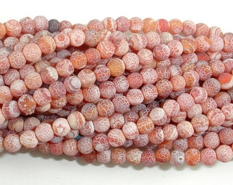 Matte Dragon Vein Agate - Orange & Red, 4mm Round Beads, 14 Inch, Full strand, Approx 95 beads, Hole 0.8mm (122054256)