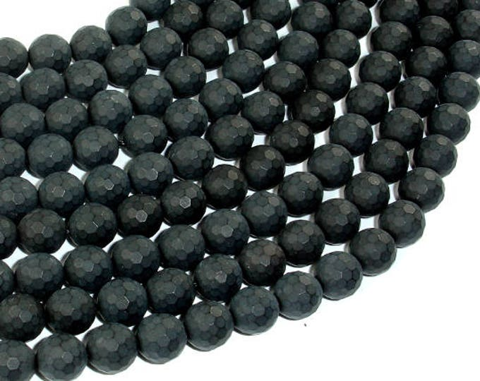 Matte Black Onyx Beads, 8mm Faceted Round, 15 Inch, Full strand, Approx 47 beads, Hole 1 mm(140025013)