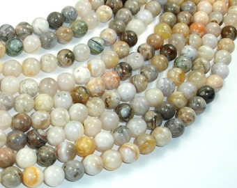 Bamboo Leaf Agate, 8mm (8.3 mm) Round Beads, 15.5 Inch, Full strand, Approx 48 beads, Hole 1mm (131054003)