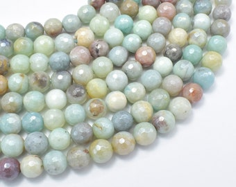 Mystic Coated Amazonite, 8mm (8.3mm) Faceted Round Beads, AB Coated, 15.5 Inch, Full strand, Approx 47 beads, Hole 1mm (111025009)