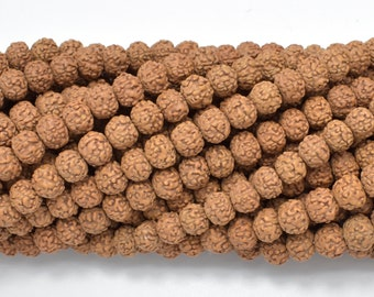 Rudraksha Beads, 6.5mm-7mm Round (Rondelle) Beads, 28-34 Inch, Full strand, Approx 140-150 Beads, Hole 0.6mm, Mala Beads (011731003)
