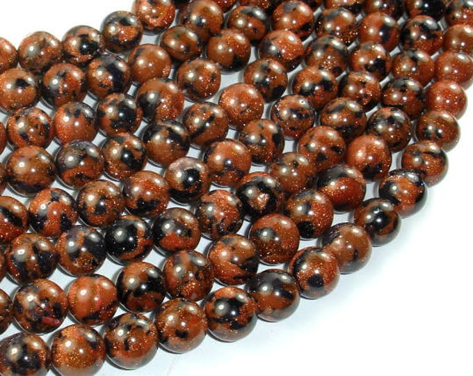 Gold Blue Sand Stone Beads, 10mm Round Beads, 15 Inch, Full strand, Approx 40 beads, Hole 1mm, A quality (459054003)