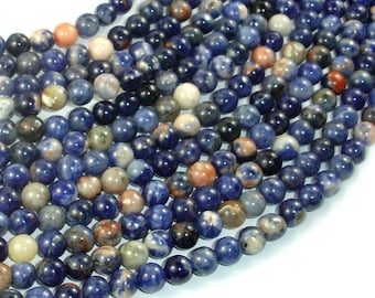 Orange Sodalite Beads, 6mm Round Beads, 15.5 Inch, Full strand, Approx 65 beads, Hole 1mm, A quality (411054022)