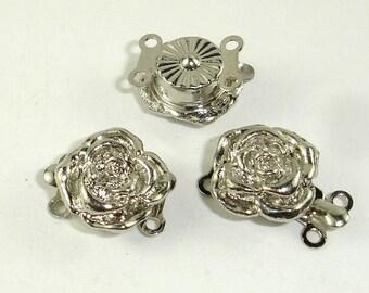 Rose Box Clasps- 2 strand , Rhodium Plated, 12mm, 4pcs (006854011)