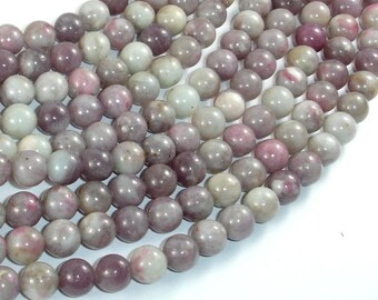 Lilac Jasper Beads, Pink Tourmaline Beads, 8 mm Round Beads, 15.5 Inch, Full strand, Approx 48 beads, Hole 1 mm (307054003)