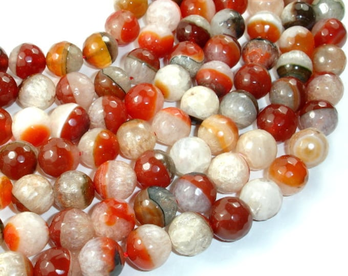 Agate Beads, Faceted Round, 12mm, 15.5 Inch, Full strand, Approx 33 beads, Hole 1 mm (122025164)