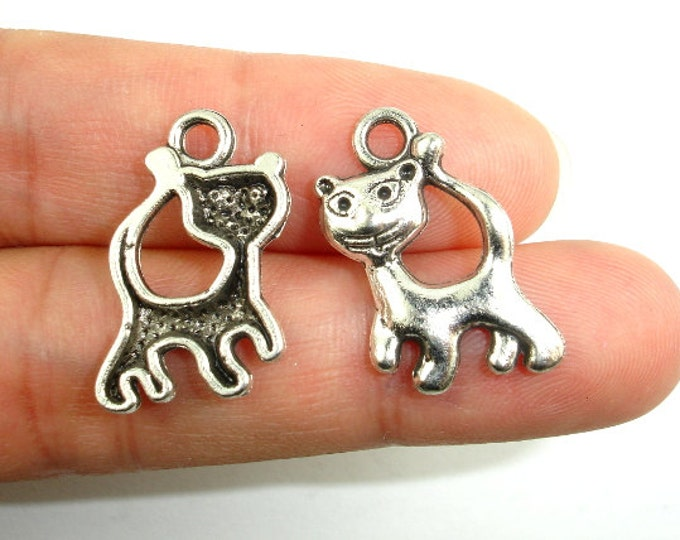 Kitty Charms, Zinc Alloy, Antique Silver Tone, 14x21 mm, 15 pcs, Hole 2.5 mm (006873070)