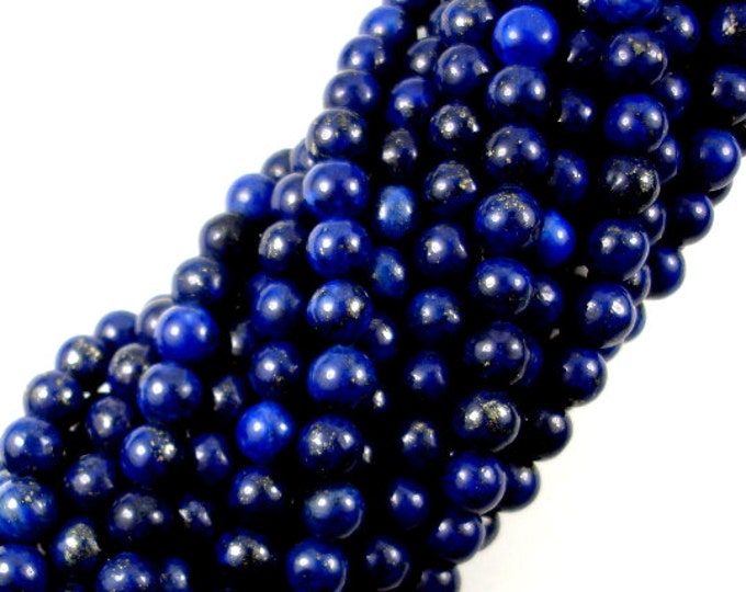 Lapis Lazuli, Round beads, 6mm(6.7mm), 15.5 Inch, Full strand, Approx 59-62 beads, Hole 1 mm (298054007)